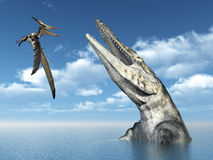 Pteranodon and Tylosaurus. Computer generated 3D illustration with the Pterosaur Pteranodon and the Mosasaur Tylosaurus Stock Photography