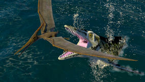 Pteranodon y un dinosaurio depredador del mar Imágenes de archivo libres de regalías