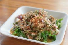 Pteridium aquilinum (L ) insalata tailandese di stile dei frutti di mare Immagini Stock