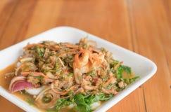 Pteridium aquilinum (L.) seafood thai style salad Stock Images