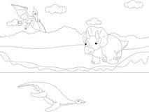 Pterodátilo, pliosaur e triceratops bonitos engraçados GA educacional Imagens de Stock Royalty Free