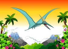 Pterodactyl cartoon flying with landscape background Royalty Free Stock Images