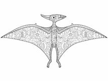 Pterodactyl dragon coloring vector for adults Royalty Free Stock Photos