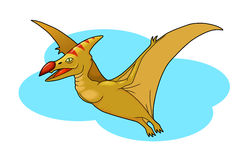 Pterodactyl. Flying high in the sky Royalty Free Stock Photo