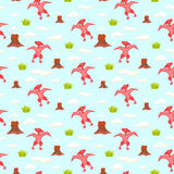 Pterodactyl kid seamless vector pattern for textile print. Royalty Free Stock Images