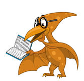 Pterodactyl reading a book. Illustration of a Intelligent pterodactyl reading a book Stock Photo
