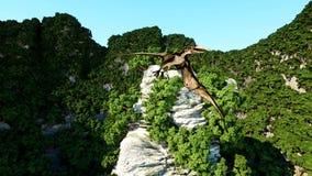 Pterodactyl on rocky cliffs. prehistoric nature, dinosaurus. 3d rendering. Royalty Free Stock Photos