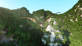 Pterodactyl on rocky cliffs. prehistoric nature, dinosaurus. 3d rendering. Royalty Free Stock Photo