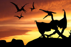 Pterodactyl's silhouette illustration Royalty Free Stock Photography