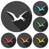 Pterodactyl silhouette icons set with long shadow. Vector icon Stock Photos