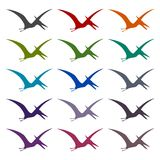 Pterodactyl silhouette icons set. Vector icon Royalty Free Stock Image