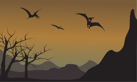 Pterodactyl silhouette in mountain. At the afternoon Stock Photo