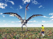 The Pterosaur Quetzalcoatlus and a reckless Tourist. Computer generated 3D illustration with the Pterosaur Quetzalcoatlus and a reckless Tourist Stock Images