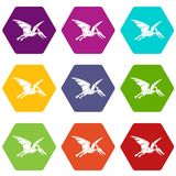 Pterosaurs dinosaur icon set color hexahedron. Pterosaurs dinosaur icon set many color hexahedron isolated on white vector illustration Stock Images