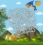 Pterosaurs Finding Eggs maze puzzle game. Illustration Stock Image