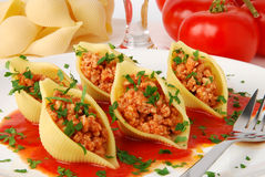 Pâtes avec de la viande Photographie stock