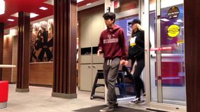 PThe door entrance of mcdonalds stock video footage