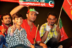 PTI youth and kids at Raiwind March – 30 September 2016. This photo was taken during Raiwind March on 30 September 2016. Kids and Youth making victory sign to Royalty Free Stock Photo