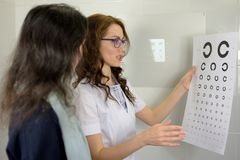 ?ptico bonito del optometrista del oftalm?logo de la mujer joven que muestra cartas de prueba de la agudeza visual y que las expl imagen de archivo libre de regalías