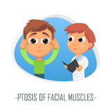 Ptosis av läkarundersökningbegreppet för ansikts- muskler också vektor för coreldrawillustration Arkivbilder