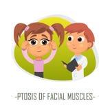 Ptosis av läkarundersökningbegreppet för ansikts- muskler också vektor för coreldrawillustration Fotografering för Bildbyråer