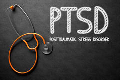 PTSD on Chalkboard. 3D Illustration. Medical Concept: PTSD - Posttraumatic Stress Disorder - Text on Black Chalkboard with Orange Stethoscope. Medical Concept Stock Photos