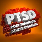 PTSD Concept. PTSD - Posttraumatic Stress Disorder - the Words in White Color on Cloud of Red Words on Orange Background Stock Photography