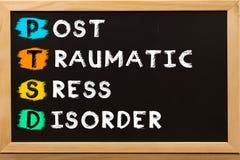 PTSD do conceito da desordem de esforço de Posttraumatic escrito fotografia de stock