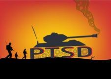 PTSD-Konzept Schlachtfeld-Szene mit Behältern und Soldaten lizenzfreie abbildung
