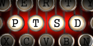 PTSD on Old Typewriter's Keys. Royalty Free Stock Photos