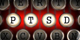 PTSD On Old Typewriter S Keys. Royalty Free Stock Photos