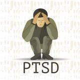 PTSD Poczta stresu nieładu wektoru pourazowa ilustracja ilustracja wektor