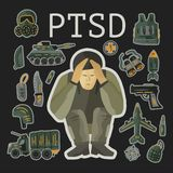 PTSD. Post traumatic stress disorder vector illustration