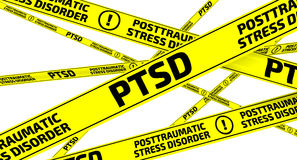 PTSD. Posttraumatic stress disorder. Yellow warning tapes vector illustration