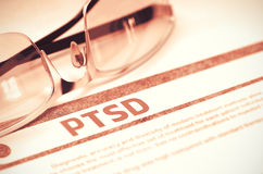 PTSD - Printed Diagnosis on Red Background. 3D Illustration. Royalty Free Stock Photo