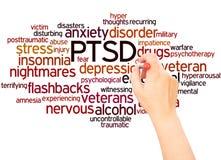 PTSD słowa chmury ręka pisze pojęciu ilustracja wektor