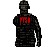 PTSD word cloud. Over a Soldiers sihlouette stock photography