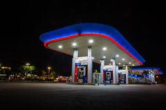 PTT Gas station on highway road during Chonburi to Bangkok city Royalty Free Stock Images