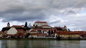 Ptuj, Словения, панорамная съемка самого старого города в Словении сток-видео