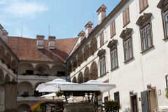 Ptuj Castle - Coffeehouse in the main courtyard Royalty Free Stock Image