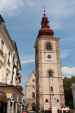 Ptuj - City Tower and St. George church in Slovenian square Royalty Free Stock Photo