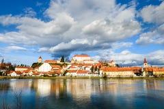 Ptuj, Eslovenia, tiro panorámico de la ciudad más vieja en Eslovenia Imagen de archivo libre de regalías