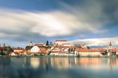 Ptuj, Eslovenia, tiro panorámico de la ciudad más vieja en Eslovenia Fotografía de archivo libre de regalías