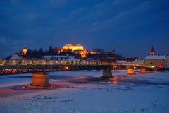 Ptuj por noche del invierno Foto de archivo libre de regalías