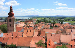 Ptuj and River Drava, Slovenia. Red roofs of old town center of Ptuj and river Drava in the background, Slovenia, Europe Royalty Free Stock Image