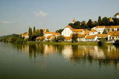 Ptuj, Slovenia. Nice reflection from the water of the old city Ptuj in Slovenia Stock Photos