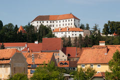 Ptuj - View on the Castle from Drava river Royalty Free Stock Photo