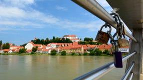 Ptujkasteel en Drava-rivier Stiermarken slovenië Royalty-vrije Stock Foto's