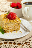 Ptysiowego ciasta Napoleon tort Fotografia Stock