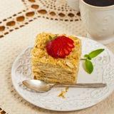 Ptysiowego ciasta Napoleon tort Fotografia Royalty Free